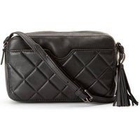 Quilted Leather Crossbody Camera Bag with Shoulder Strap and Tassel