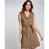 Tie-Waist Trench Dress with Tailored Collar