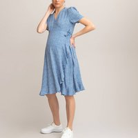 Printed Wrapover Maternity Dress with Ruffles