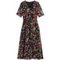 Floral Wrapover Midaxi Dress with Short Sleeves
