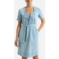 Denim Shift Dress with Short Sleeves