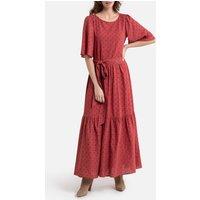 Cotton Mix Maxi Dress in Polka Dot Print and Short Sleeves