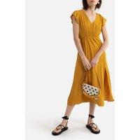 V-Neck Midi Dress with Short Sleeves