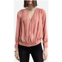 Long-Sleeved Wrapover Blouse.