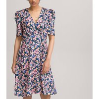 Floral Print Mini Dress with V-Neck and Short Puff Sleeves