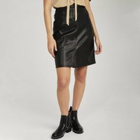 Faux Leather Straight Skirt in Knee-Length