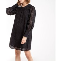 Cotton Short Shift Dress in Broderie Anglaise with Long Sleeves.
