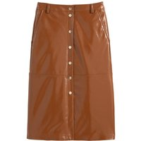 Patent Faux Leather Midi Skirt with Press-Stud Front