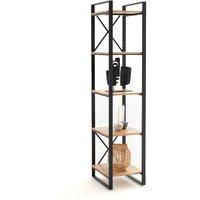 Hiba 5-Level Column Shelf in Solid Oak and Steel