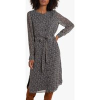 shop for Buttoned Printed Midi Dress with Tie-Waist and Long Sleeves at Shopo