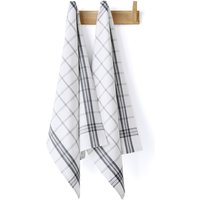 Set of 2 Cotton Checked Tea Towels