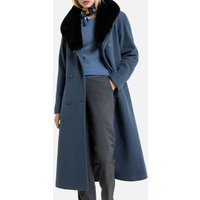 Wool Mix Double-Breasted Coat with Faux Fur Collar and Pockets