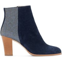 Dual Fabric Leather Ankle Boots