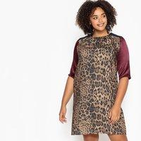 Image of Colour Block Leopard Print Dress