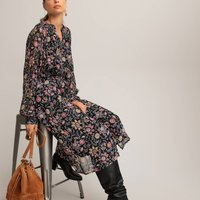 shop for Floral Midi Shirt Dress with Tiers at Shopo