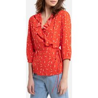 shop for Floral Print Wrapover Blouse with Long Sleeves at Shopo