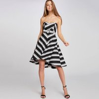 Ramina Striped Short Bustier Dress With Bow
