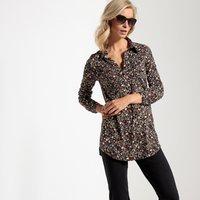 T-shirt Fantasia fondo nero donna Tunica ampia collo a camicia cotone e modal