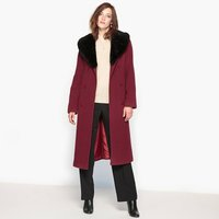 Wool Blend Coat with Large Faux Fur Collar and Belt