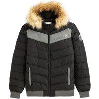 Geru Zipped Padded Jacket with Faux Fur Hood and Pockets