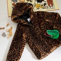 Faux Fur Hooded Coat in Leopard Print, 3-14 Years