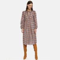 Checked Smock Midi Dress with Puff Sleeves