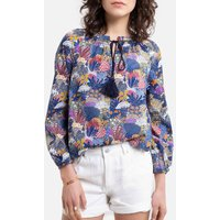 shop for Printed Cotton Blouse with Tassel Trim Tie at Shopo
