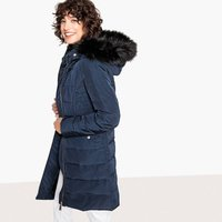 Long Padded Down Jacket with Faux Fur Hood and Pockets
