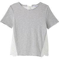 T-shirt Rigato écru/marine donna T-shirt scollo rotondo maniche corte a righe