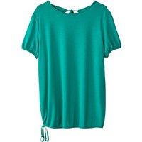 T-shirt bianco;verde donna T-shirt a maniche corte scollo rotondo decolleté dietro