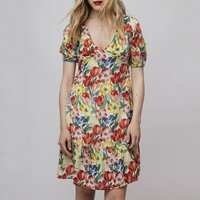 shop for Floral Print Short Dress with Puff Sleeves at Shopo