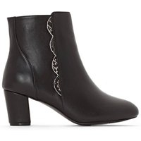 Smooth Leather High-Heeled Ankle Boots