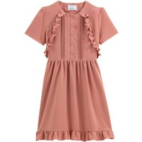 Cotton Knee-Length Dress with Ruffles and Short Sleeves
