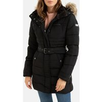 Long Padded Jacket with Belt and Faux Fur Hood