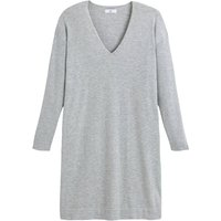shop for Soft Mini Jumper Dress with V-Neck and Long Sleeves at Shopo