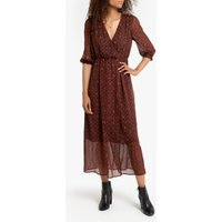 shop for Maxi Printed Boho Wrapover Dress with Long Sleeves at Shopo