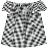 Checked Blouse with Boat Neckline, 3-12 Years
