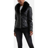 Zip-Up Padded Jacket with Faux Fur Collar