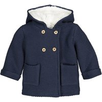 Cotton Mix Hooded Cardigan with Fleecy Lining, Birth-3 Years