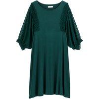 shop for Ruffled Polka Dot Tulle Sleeve Jersey Dress at Shopo