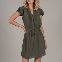 shop for Short Ruffled Shirt Dress with Pleats at Shopo