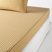 Yellow Tie Print Cotton Percale Fitted Sheet