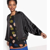 Bomber Jacket in Satin Effect with Batwing Sleeves