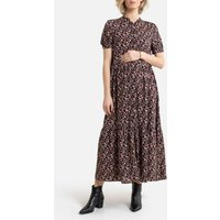 Maternity Button-Through Maxi Dress in Floral Print with Short Sleeves