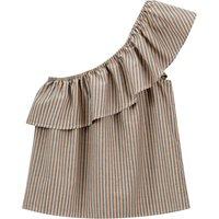 shop for Striped Cotton Asymmetric Off-the-Shoulder Blouse at Shopo
