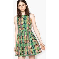 Short Tribal Print Flared Dress