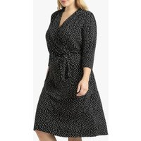 shop for Polka Dot Wrapover Dress with Long Sleeves at Shopo
