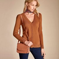 Soft Touch V-Neck Cardigan with Gathered Shoulders
