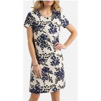 Linen Mix Tunic Shift Dress in Floral Print with Short Sleeves