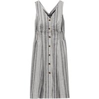 Striped Linen/Cotton Midi Dress with Bow at Back